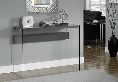 Monarch Specialties Glossy Grey Hollow-Core & Tempered Glass