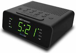 Emerson SmartSet Alarm Clock with AM/FM Radio Dimmer Sleep Timer LED Display