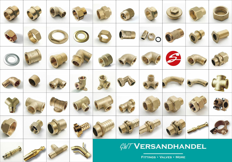 Messing Gewindefittings | 1/4 - 2 Zoll | EU Produkt Winkel Doppelnippel T-Stück