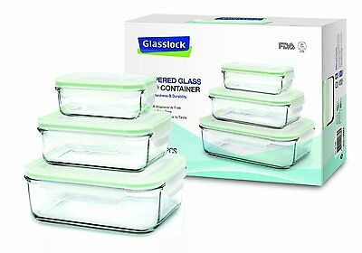6 Pc Glasslock GL-135 Tempered Glass Food Storage Containers