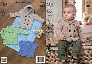 King Cole Baby Aran Knitting Pattern Kids Hooded Coat Jacket Lacy Cardigan 3724