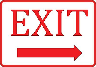 White Exit Right Arrow Sign - Business Directional Door Signs - Aluminum Metal ()