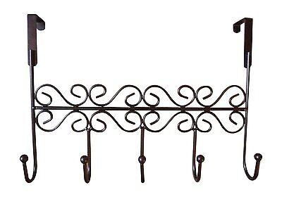 Over the Door Decorative 5 Hook Rack Clothes Coat Hat Belt Hanger Organizer for