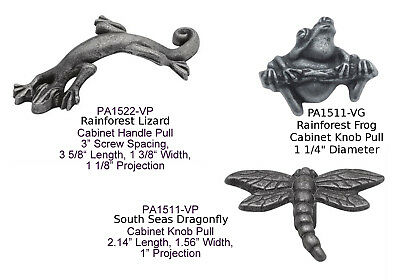 Cabinet Pewter Handles - Vibra Pewter Rainforest Cabinet Knob PA1511-VP, PA1512-VP and Handle PA1522-VP