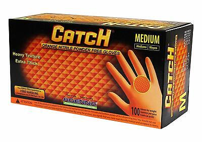 Adenna Cat455 Catch 8 Mil Nitrile Gloves Powder Free Orange Medium Bx100