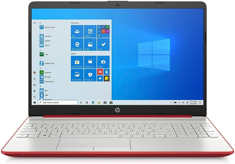 "Laptop Windows - Red HP 15.6"" Intel Gold 6405U 2.4GHz 128GB SSD 4GB RAM Webcam Windows 10 Laptop"