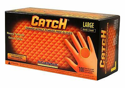 Adenna Cat456 Catch 8 Mil Nitrile Gloves Powder Free Orange Large Box Of 100