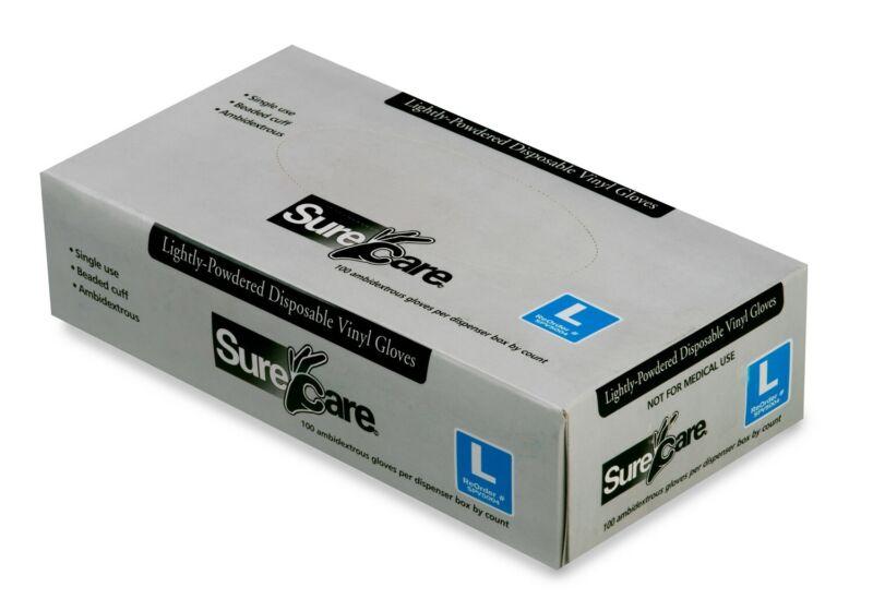 50 Pair SureCare Vinyl Gloves Clear Exam Gloves Medium