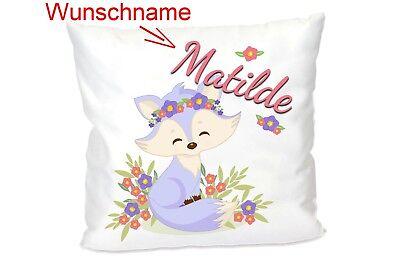 Kissen für Kinder Mädchen Fuchs mit Wunsch-Namen (Valentinstag Für Kinder)