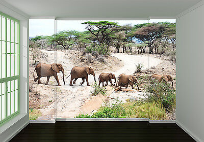 (3D Elephants, woods 100 Wall Paper Print Wall Decal Deco Indoor Wall Murals)
