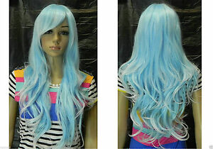 Excellent-Light-Blue-white-Mix-Long-Wavy-Cosplay-women-Wig-Free-Hairnet