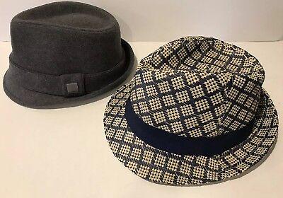 Lot 2 Trilby Hats Gray grey Felt Wool Blue Straw Paper Forever 21 Hatter fedora (Blue Fedora Hats)