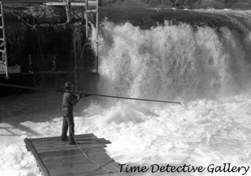 Indians Fishing for Salmon, Celilo Falls, Oregon (5) -1941- Historic Photo Print
