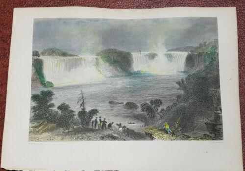 Handcoloured steel engraving W.H.Bartlett 1854 Niagara Falls Canada