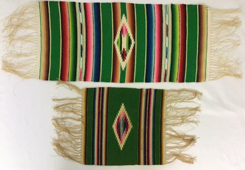 Vintage Saltillo Serape Aztec Handwoven Placemats Set Of 2