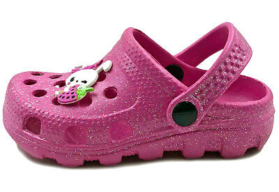 Sparkle Girl Shoes (Girl's Pink Sparkle Clog Sandals (Molded Shoes size 28/Child 10) Bunny Berry)