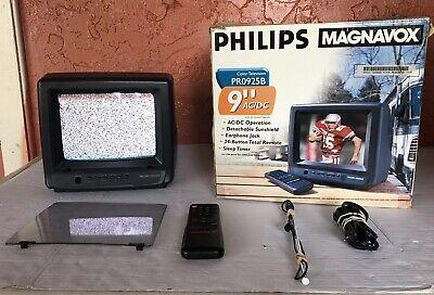"Vintage Philips Magnavox 9"" Color Television Gaming RV W/ Remote PR0925B AC/DC"