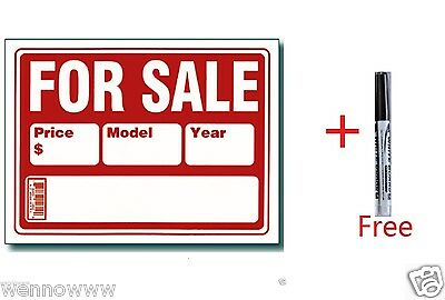 "Buy 2 Pcs 9x12 Inch Plastic ""For Sale""Sign GET a Free erasable Marker"