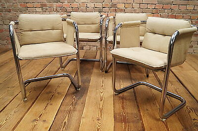 4 VINTAGE Lounge STÜHLE DESIGNER STUHL Freischwinger Wollstoff Mid Century Chrom