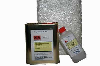 GFK-SET:5 kg Polyesterharz klebfrei+100g Härter+10m² Glasmatte 300g/m² TOPPREIS