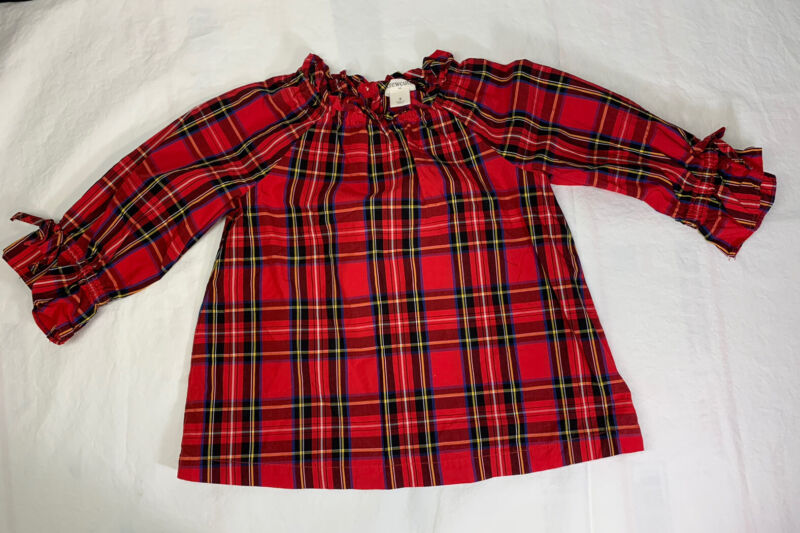 Crewcuts Toddler Girl Red Plaid Shirt Size 3, Great for the Holiday Season