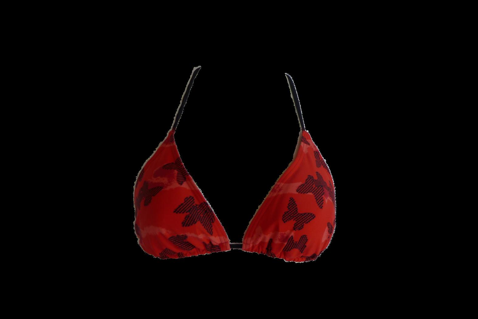 Damen Triangel Bikini Oberteil Rot/Schwarz Gr. 38 40 42 44 NEU