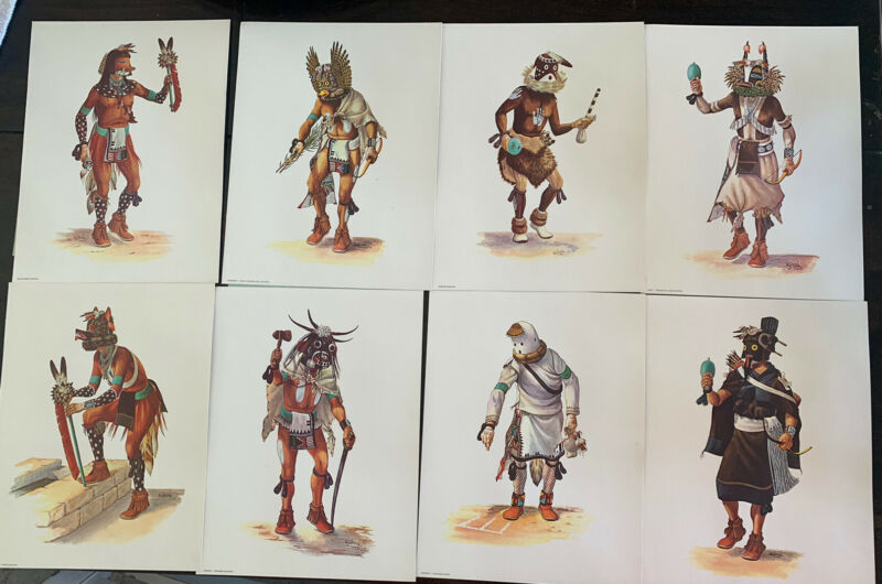 Set of 8 Native American Kachina Art Prints by Peter Shelton Hoyesva