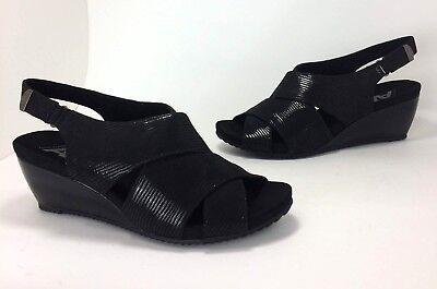 Ak Anne Klein Open Toe Wedges (New Anne Klein AK Sport Carolyn size 9.5 Black Faux Leather Open-toe Wedge Heels)