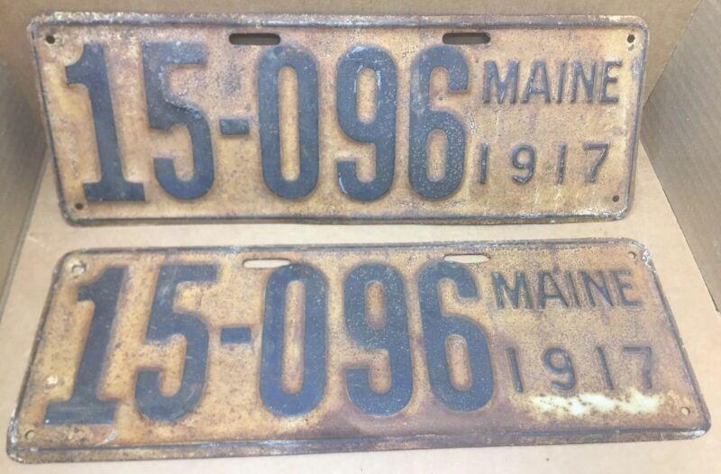 RARE 1917 MAINE LICENSE PLATES ANTIQUE