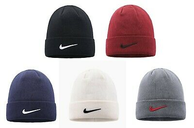 Nike Adult Knitted Mens Urban long Peak Stretch Fit Beanie Hat Black Winter Cap