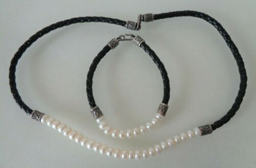 Sterling 925 Stamped, Black Leather and FW Button Pearls Necklace and Bracelet S