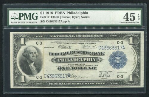 FR. 717 1918 $1 FRBN FEDERAL RESERVE BANK NOTE PHILADELPHIA, PA PMG EF-45