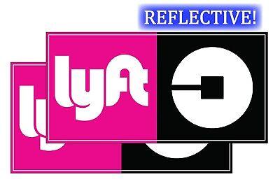 Reflective Uber  Lyft Car Magnets  Set Of 2 5 X10