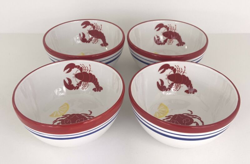 SONOMA Nantucket Red Lobster Crab Cereal Soup Bowls (set of 4) Exc Condition