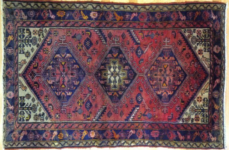 Handsome Hamadan - 1940s Antique Persian Rug - Tribal Carpet - 3.4 X 5.1 Ft.