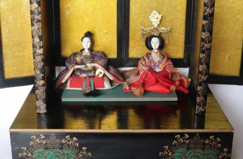 Japanese Antique Hina Doll Emperor & Empress Ornament with Folding Screen & Base