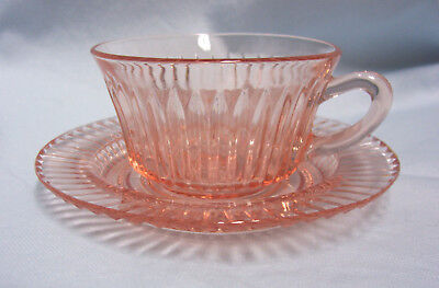 Pink Depression Pair Cup & Saucer Anchor Hocking Queen Mary Ribbed Round Handle