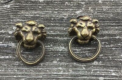 VINTAGE ANTIQUE STYLE HAND MADE SOLID BRASS LION PAIR OF DOOR HANDLES PULLS