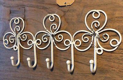 Hakenleiste Schlüsselbrett Landhaus Antik Metall antikweiß weiß creme shabby Neu (Haken Schlüsselbrett)