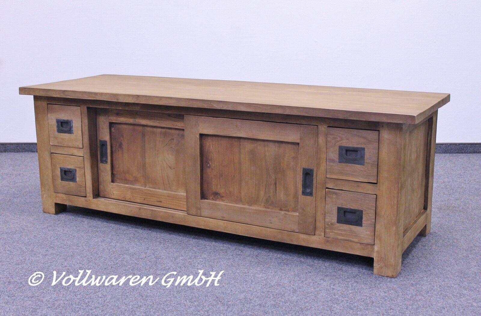 teak tv phono lowboard se66 3 teakholz antik massiv 150cm tv schrank tv kommode eur 769 00. Black Bedroom Furniture Sets. Home Design Ideas