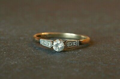 Vintage 18ct Yellow Gold And Platinum Diamond Solitaire Ring 0.30 Carats