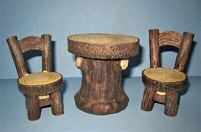 Miniature Log Table and Chairs Wood Grain look Furniture Woodland Fairy Garden
