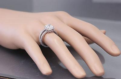 GIA G-VS2 18k White Gold Cushion Cut Diamond Engagement Ring And Band Halo 2.30c 1