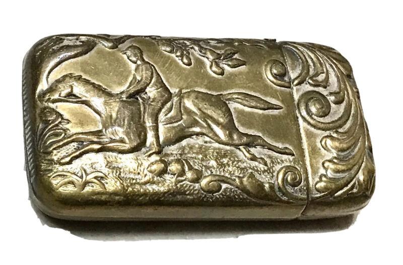 Rare Antique Vintage 1800' Jockey Horse Copper Vesta Match Safe Case Holder Old