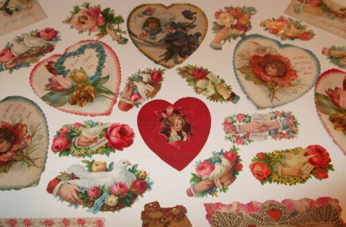 33 Antique Victorian Lot VALENTINE Heart Cards Romantic Die-Cut Scraps Floral