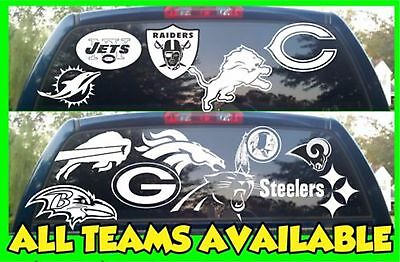 NFL Football Vinyl DECAL Car Truck Window STICKER Graphic All Teams NFL White ()