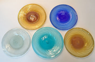 Set of 5 Vintage Mexican Hand Blown Art Glass Plates Swirl Bubble Pontil