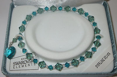 Blue Green Stretch Bracelet Sterling Silver New Box Beads Made with Swarovski Beads Stretch Bracelet Box
