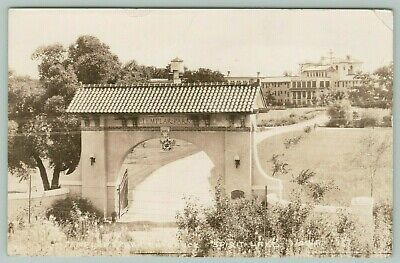Spirit Lake Iowa~Knights Templar Park~Arch Entrance~Gate to Lodge~1939 RPPC