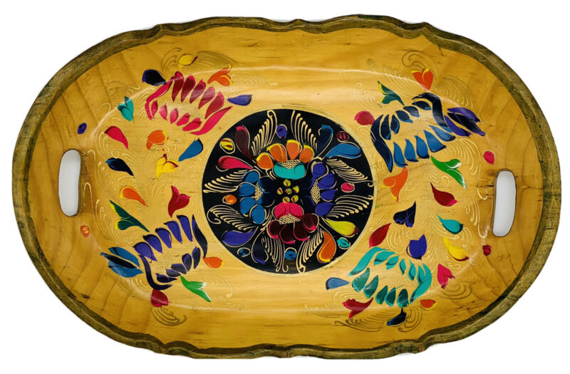 """Vintage Mexican Batea Floral Hand Painted Wood Folk Art Bowl Oval Tray 17.5/8""""L."""